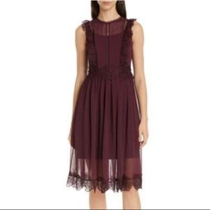 Ted Baker frill-lace midi dress